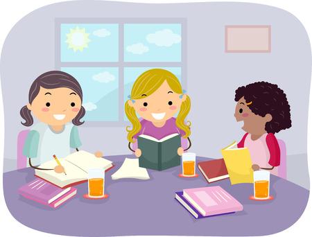 Illustratie van meisjes samen studeren in hun huis