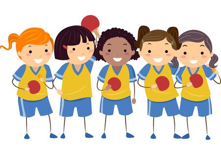 kleine meisjes: Illustratie van Meisjes Gekleed in Table Tennis Uniformen Stock Illustratie