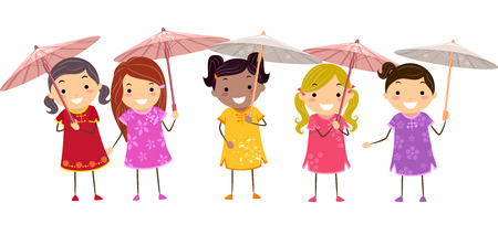 chinese dress: Illustration of Girls in Chinese Dresses Holding Chinese Parasols Illustration