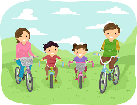 bonhomme allumette: Illustration d'une famille Faire une promenade dans le parc dans leurs bicyclettes