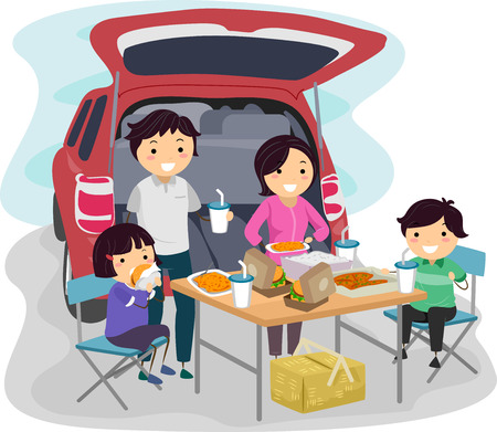 Illustratie van een familie met een picknick op de achterkant van hun auto
