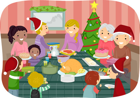 potluck: Illustration of Family Friends Celebrating Christmas Together