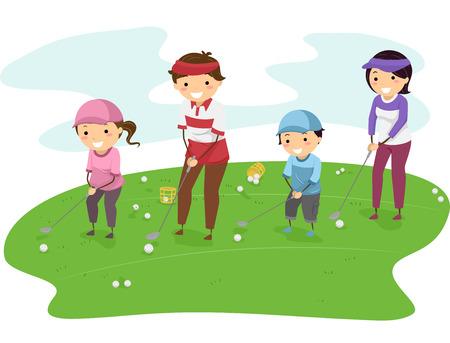 一緒にゴルフ ゴルフ コースで家族の実例