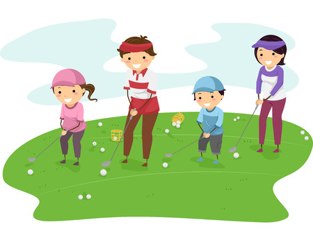 family playing: Illustration of a Family in a Golf Course Playing Golf Together