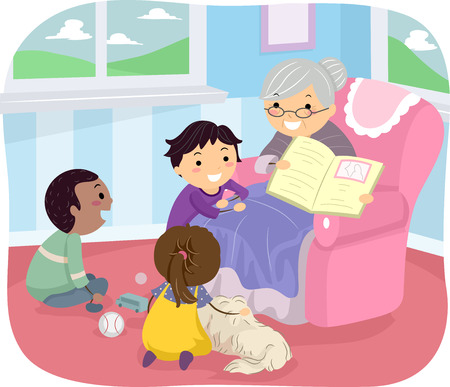 Illustration of Kids Listening to Their Grandmother Tell a Story Vector