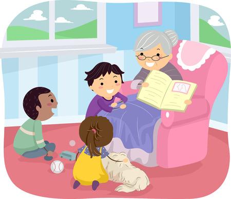 convivencia familiar: Ilustraci�n de ni�os escuchando sus Abuela contar una historia Vectores