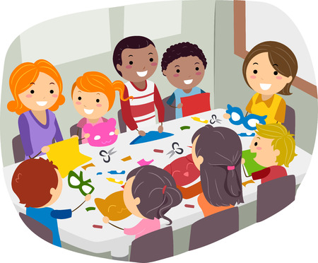 family clip art: Illustration of Parents and Their Friends Doing Paper Crafts Together Illustration