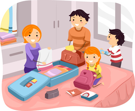 packing: Illustration of a Family Packing Their Things for a Trip