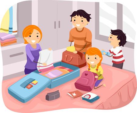 maletas de viaje: Ilustraci�n de una familia de embalaje Sus cosas para un viaje