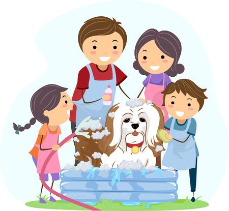 boy bath: Illustration of a Family Giving Their Pet Dog a Bath Illustration