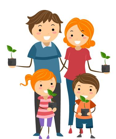 bonhomme allumette: Illustration des parents et leurs enfants Tenir plants � planter dans leur jardin Illustration