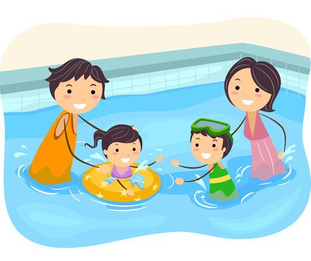 convivencia familiar: Ilustraci�n de una Familia que juega en la piscina Vectores