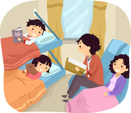 overnight: Illustration of a Family Spending the Night in a Sleeper Train