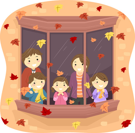 Illustration of a Family Watching Autumn Leaves Fall From Their Window Vector