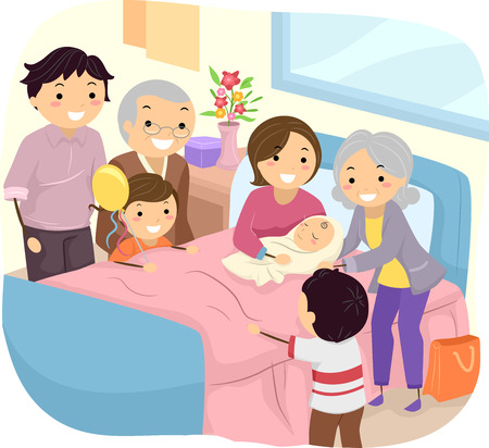 Illustration of a Family Welcoming the Birth of a New Baby