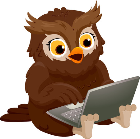 computer mascot: Illustration of an Owl Smiling Happily While Using His Laptop