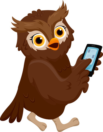Illustration of an Owl Pointing to His Smartphone Stock Photo
