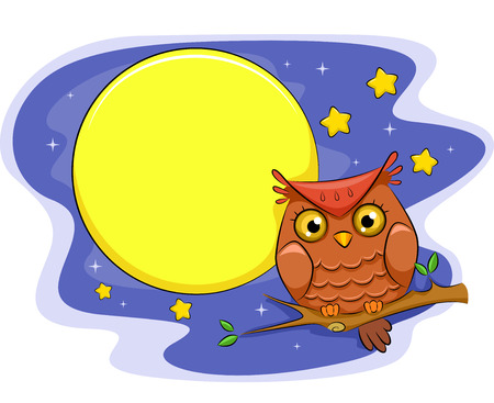 perched: Illustration of an Owl Perched on a Branch With the Moon and the Stars as Its Background
