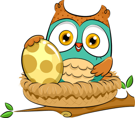 incubation: Illustration of an Owl Warming Up an Egg While Sitting on Its Nest Stock Photo
