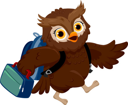 schooler: Illustration of an Owl Wearing a School Bag Carrying a Lunchbox to School Stock Photo
