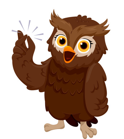 Illustration of an Owl Smiling Happily While Snapping its Fingers illustration