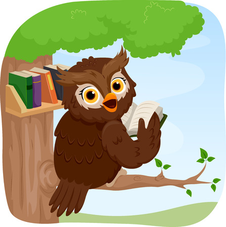 clip arts: Illustration of an Owl Reading a Book While Perched on a Tree