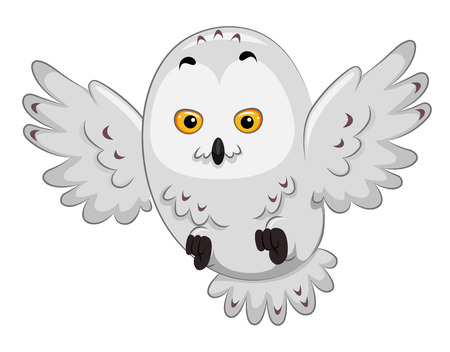 snowy owl: Illustration of a Snowy Owl in the Middle of Flying