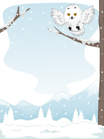 perched: Illustration of a Snowy Owl Perched on a Snow Covered Tree