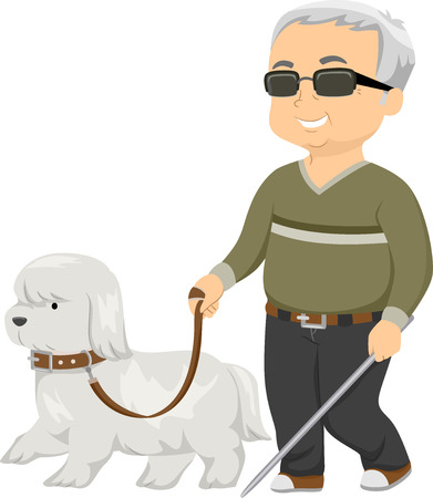 blind dog: Illustration of a Seeing Eye Dog Guiding a Blind Man Stock Photo