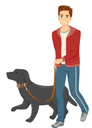 dog to walk: Illustration of a Man Taking His Dog for a Walk Stock Photo