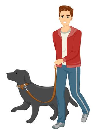 perro caricatura: Ilustraci�n de un hombre que toma su perro para un paseo Foto de archivo