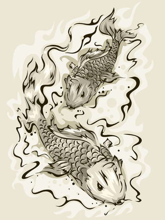 swimming carp: Illustration of a Pair of Koi Fish Swimming About
