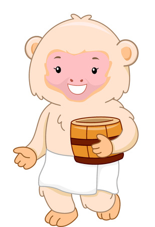Illustration of a Macaque Monkey Preparing to Take a Bath at a Hot Spring Stock Photo