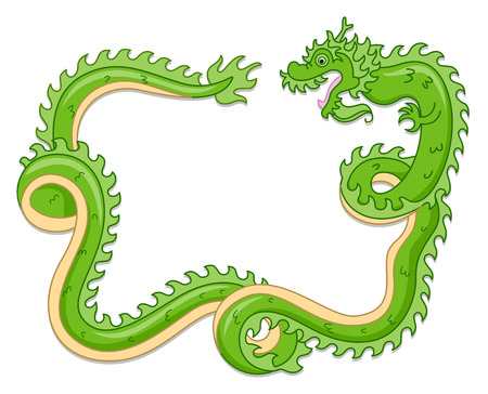 curled up: Illustration of a Green Dragon Curled Up in Loops