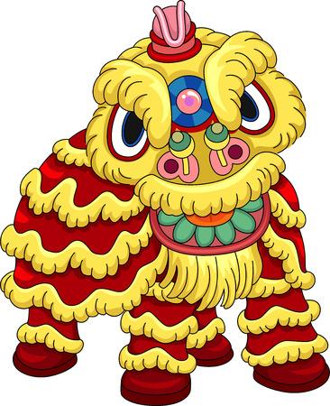 lion dance: Illustration of a Man Wearing a Lion Dance Costume