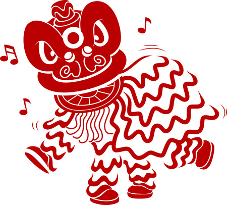 Stencil Illustration of Men in Costume Performing a Lion Dance Stock Photo