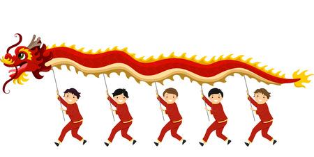niños chinos: Ilustración de niños que realiza una danza del dragón para el año nuevo chino