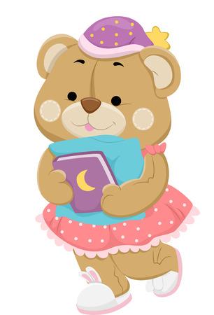 nightwear: Illustration of a Teddy Bear in Sleepwear Preparing to Go to Sleep