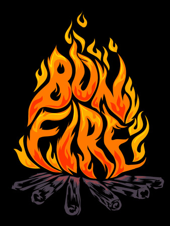 Typographic Illustration of Fiery Flames Arranged to Spell the Word Bonfire