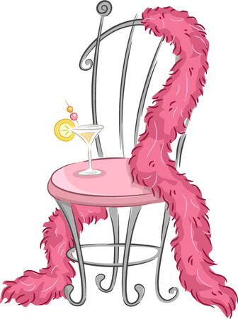 boa: Illustration of a Fancy Chair with a Pink Feather Boa Draped Around it While a Glass of Wine Sits on It
