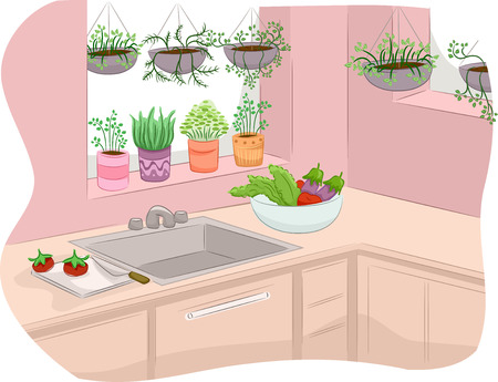 indoor garden: Illustration of a Kitchen Decorated with Indoor Plants Stock Photo