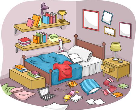 Illustratie van een ongeorganiseerde kamer bezaaid met stukken van Trash Stockfoto