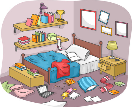 dirty room: Illustration of a Disorganized Room Littered With Pieces of Trash