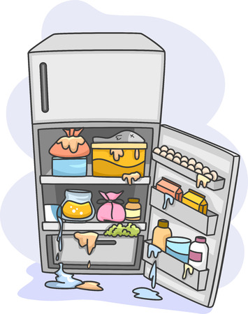 Illustration of a Messy Refrigerator Dripping With All Sorts of Fluids Stock Photo