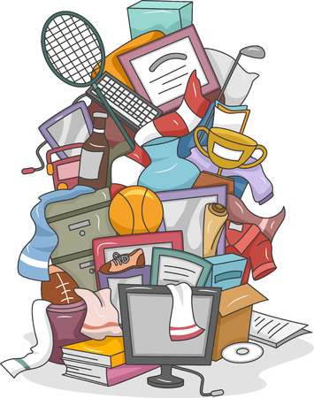 disorganized: Illustration of a Huge Pile of Random Items Carelessly Thrown Together