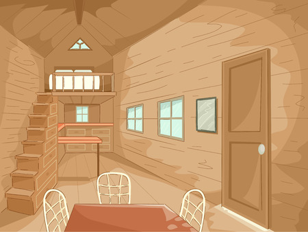 一致の家具を備えた超小型の家の内部の図