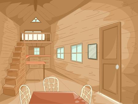 Illustration der Innenraum eines Tiny Haus komplett mit passender Möbel Standard-Bild - 35416208