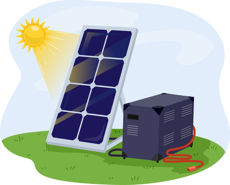 recharging: Illustration of a Solar Panel Getting Solar Energy From the Sun