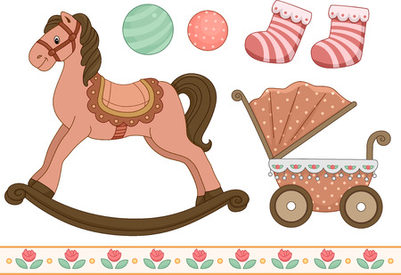 typically: Vintage Style Illustration of Different Elements Typically Associated With Babies