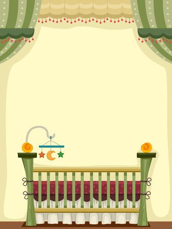 Illustratie van een Vintage Crib versierd met baby speelgoed